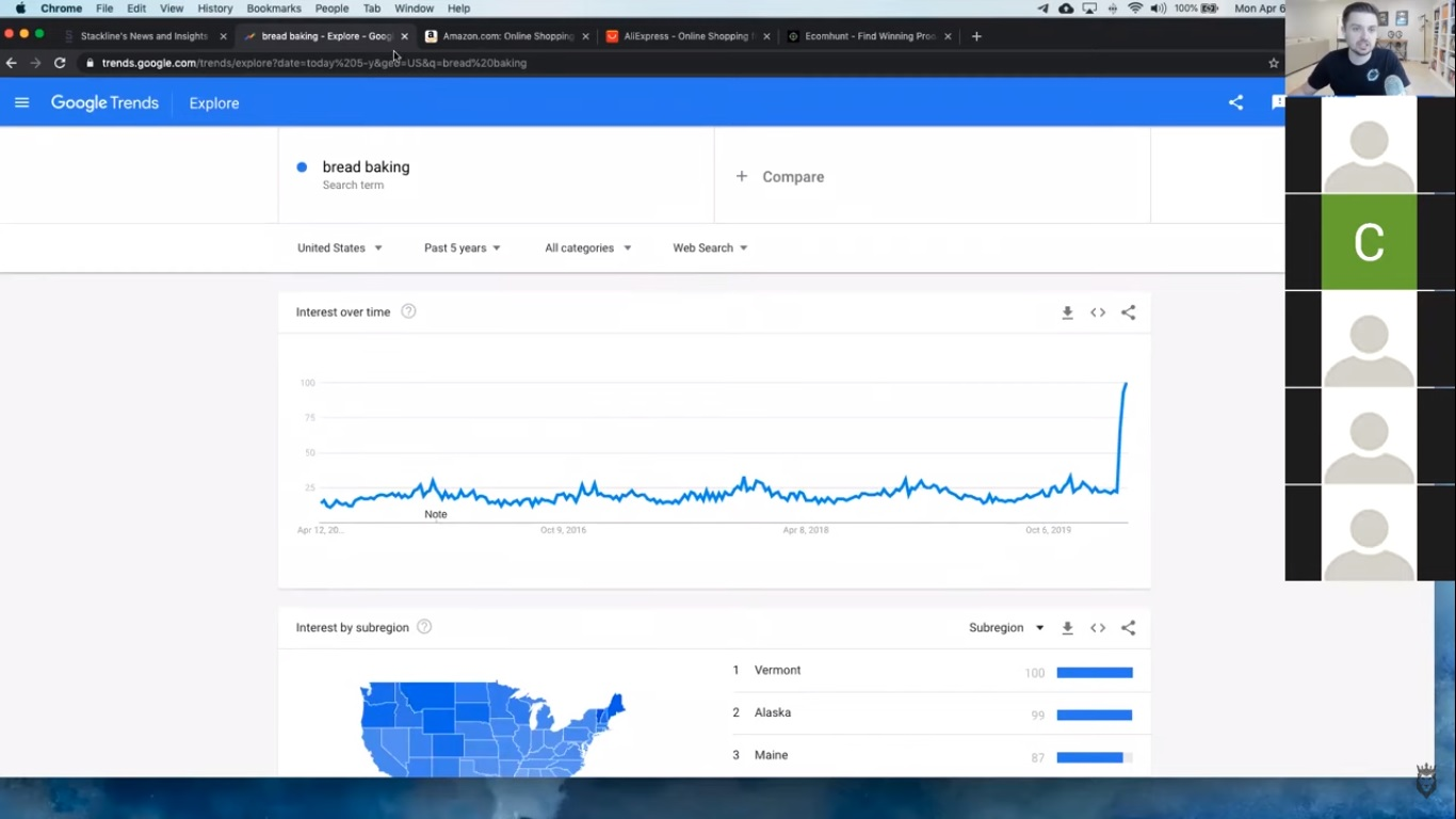 "screenshot of ""bread baking"" search volume over time on Google"