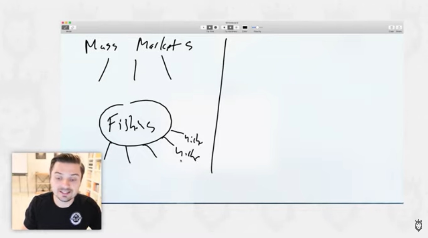 screen grab of video discussing mass markets and niches for dropshipping products