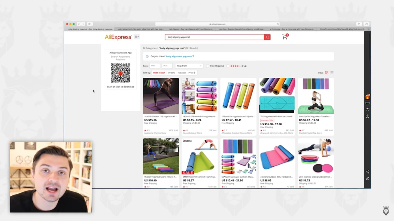 conducting product research online by looking at stores and wholesalers