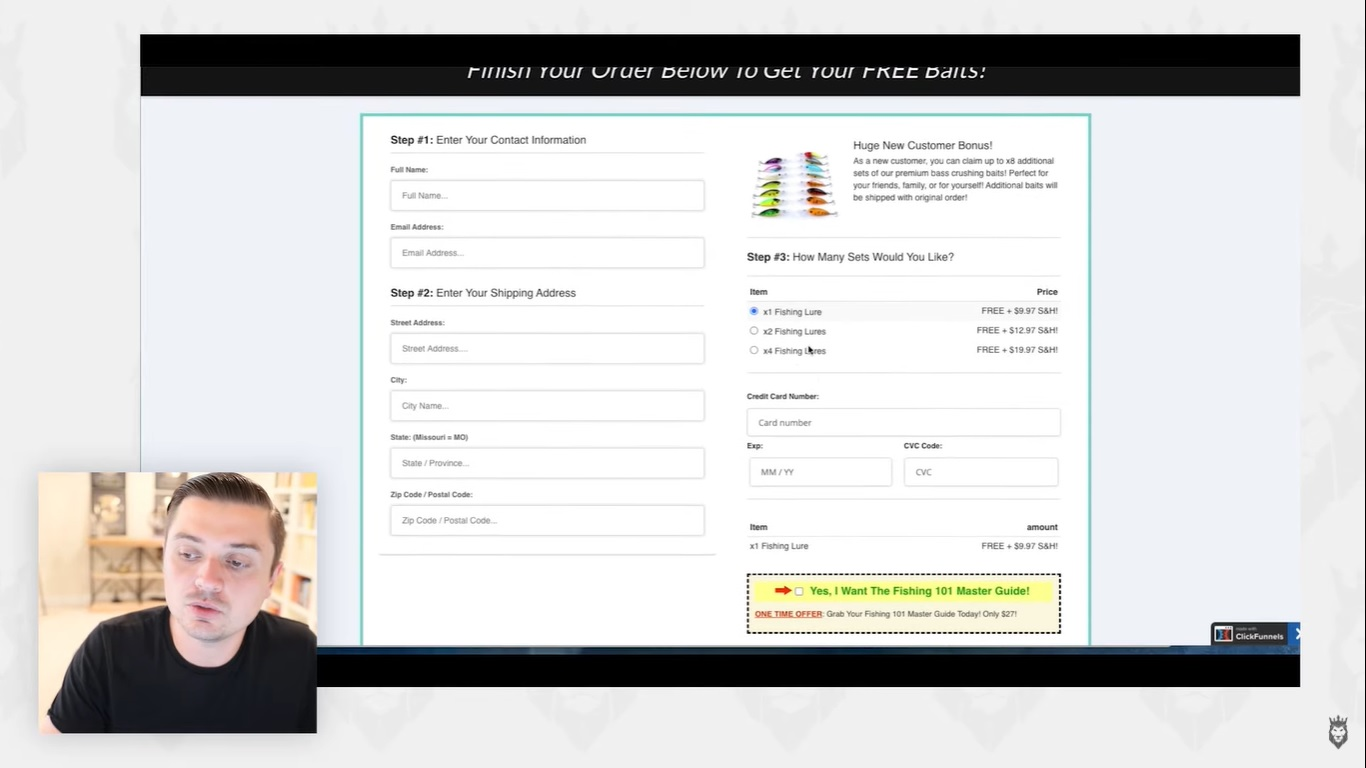 screen grab of an order form to highlight the choice between Clickfunnels or Shopify
