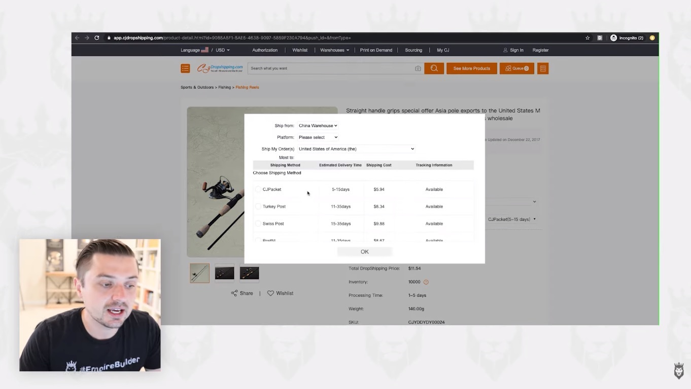 screen grab of CJDropshipping's shipping times