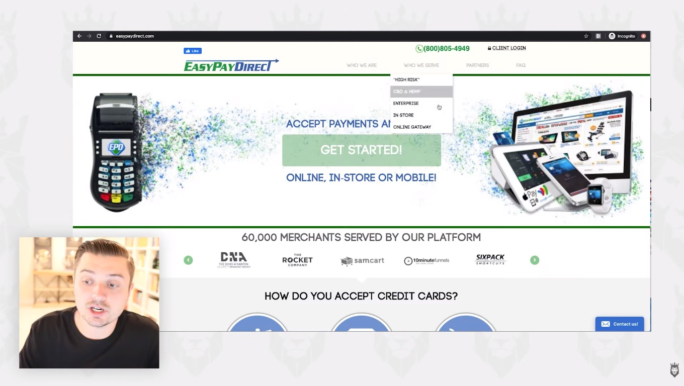screen grab of Easy Pay Direct, one of the four dropshipping payment processors that acts as a backup system