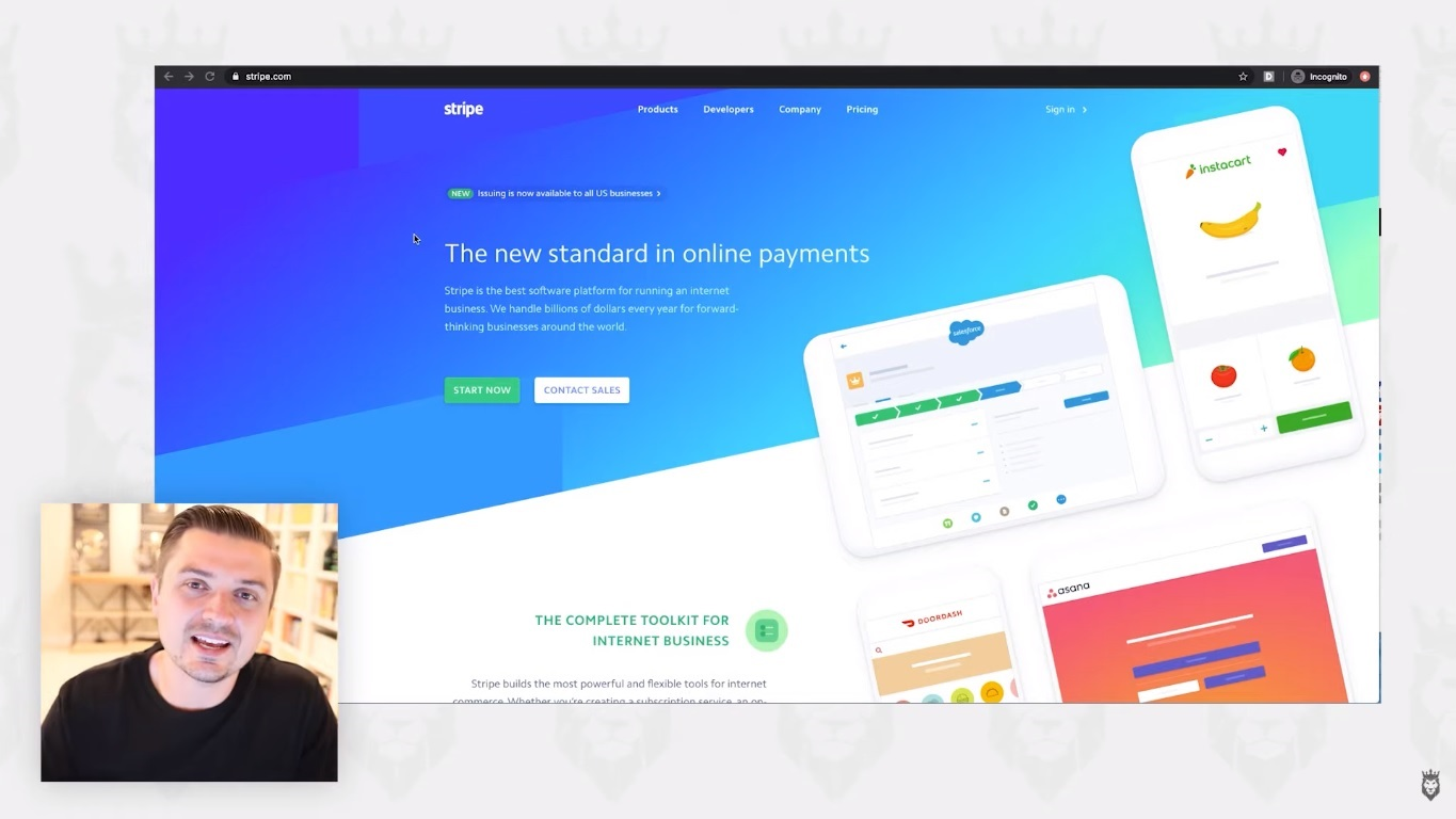 screen grab discussing Stripe and its benefits as a payment processing platform