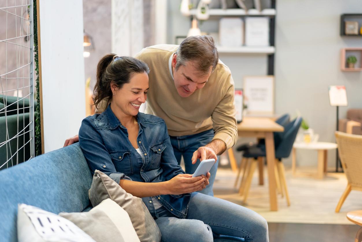 a couple seeing an engaging product offer on a sales funnel