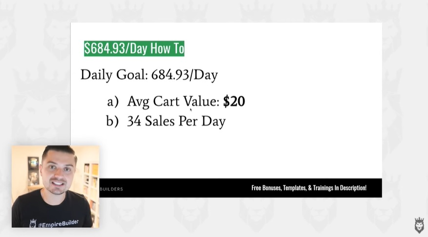 screen grab of daily sales goals to achieve $50,000 in income a year