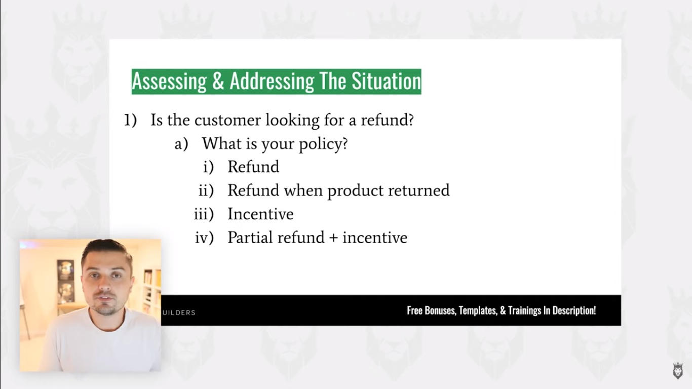 Screengrab of a refund decision tree