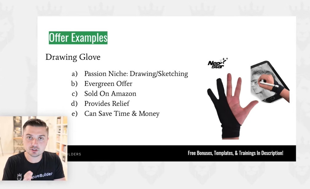 screen grab of analyzing the positive attributes of drawing gloves as a winning ecommerce product