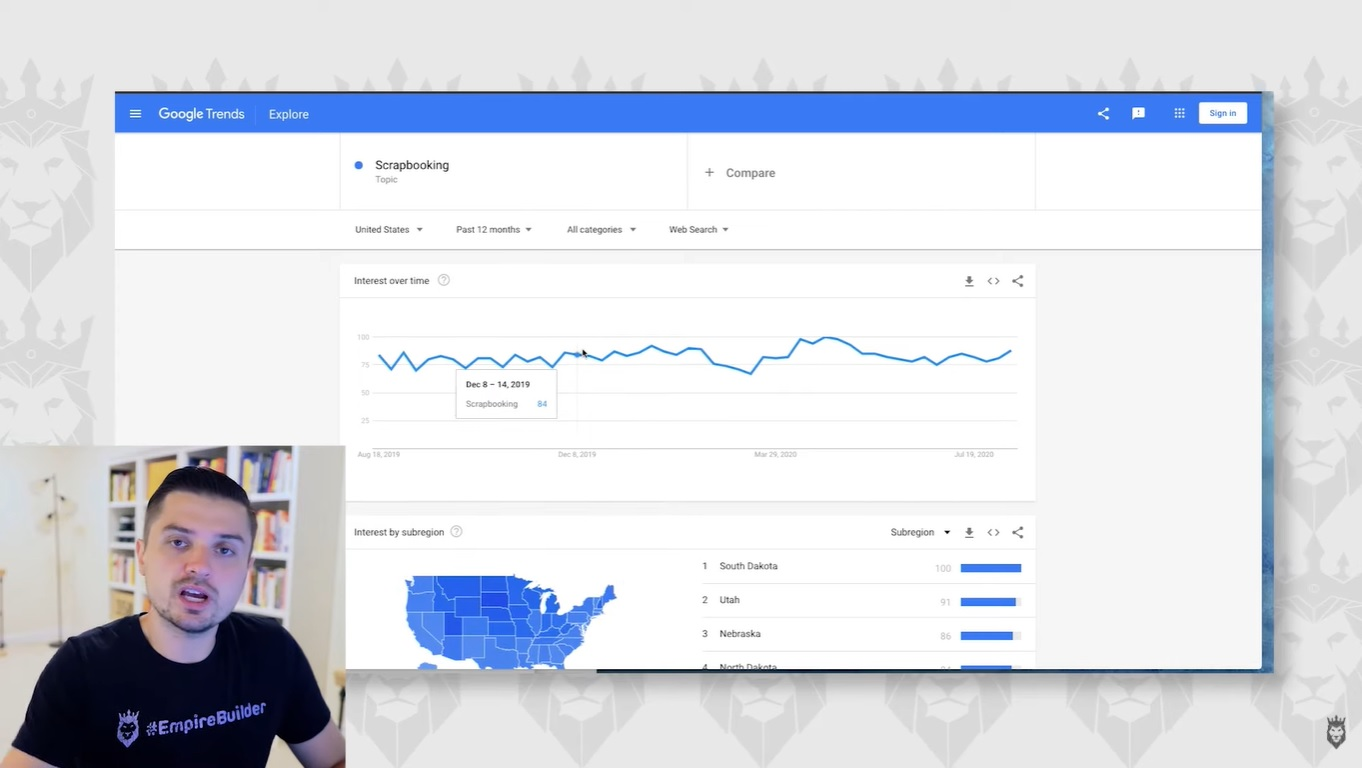 screenshot of analyzing a trend on Google Trends
