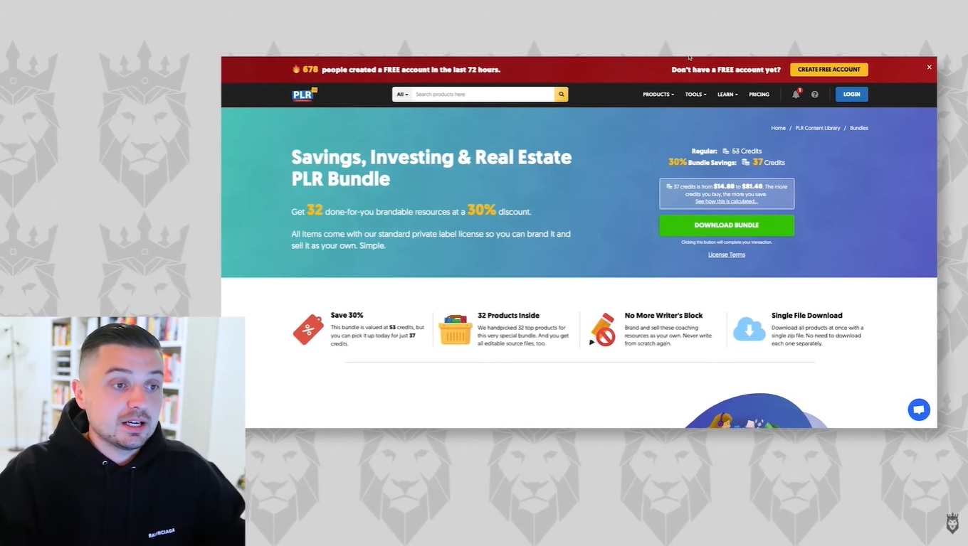 Screen grab of real estate PLR products