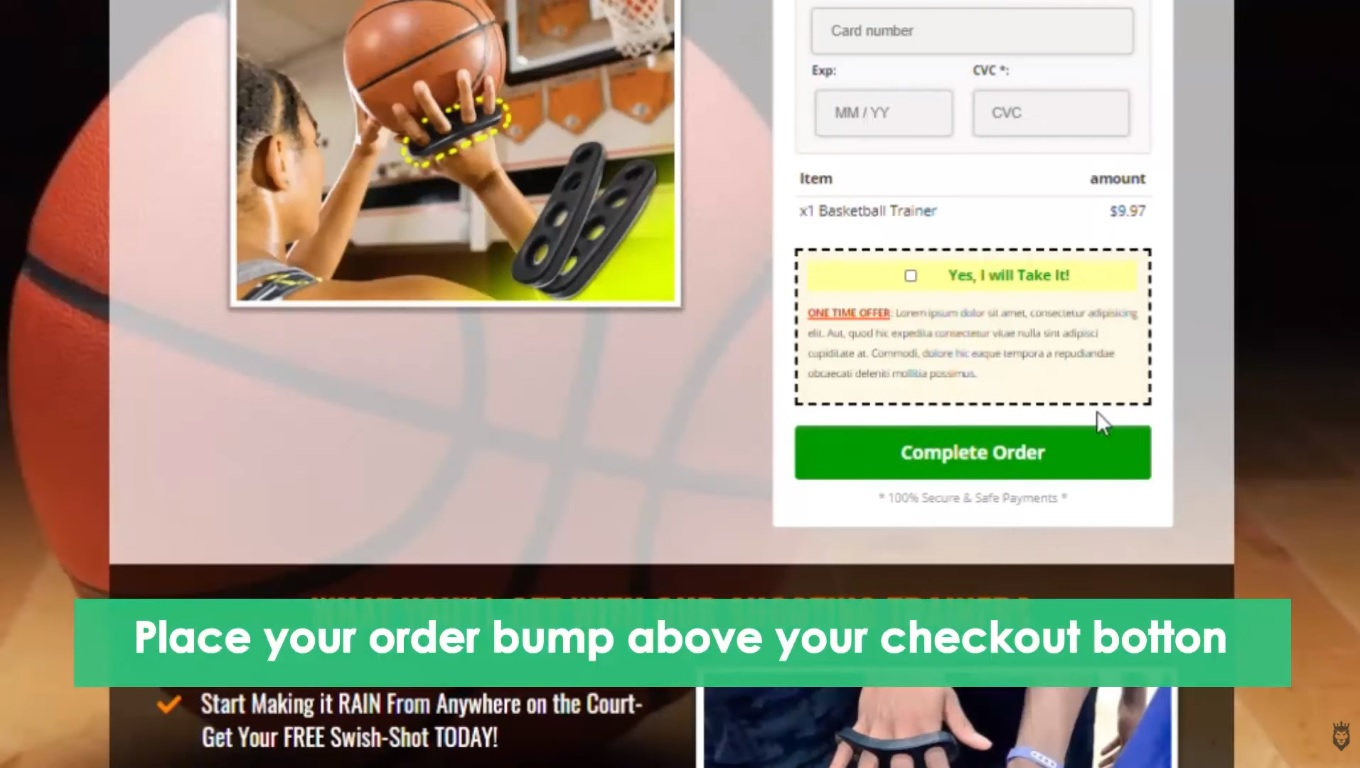 screengrab of a tip for position effective order bumps