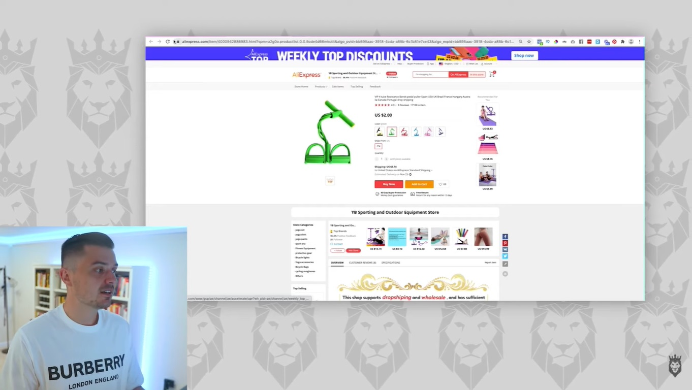 Screen grab of how to search for products on AliExpress