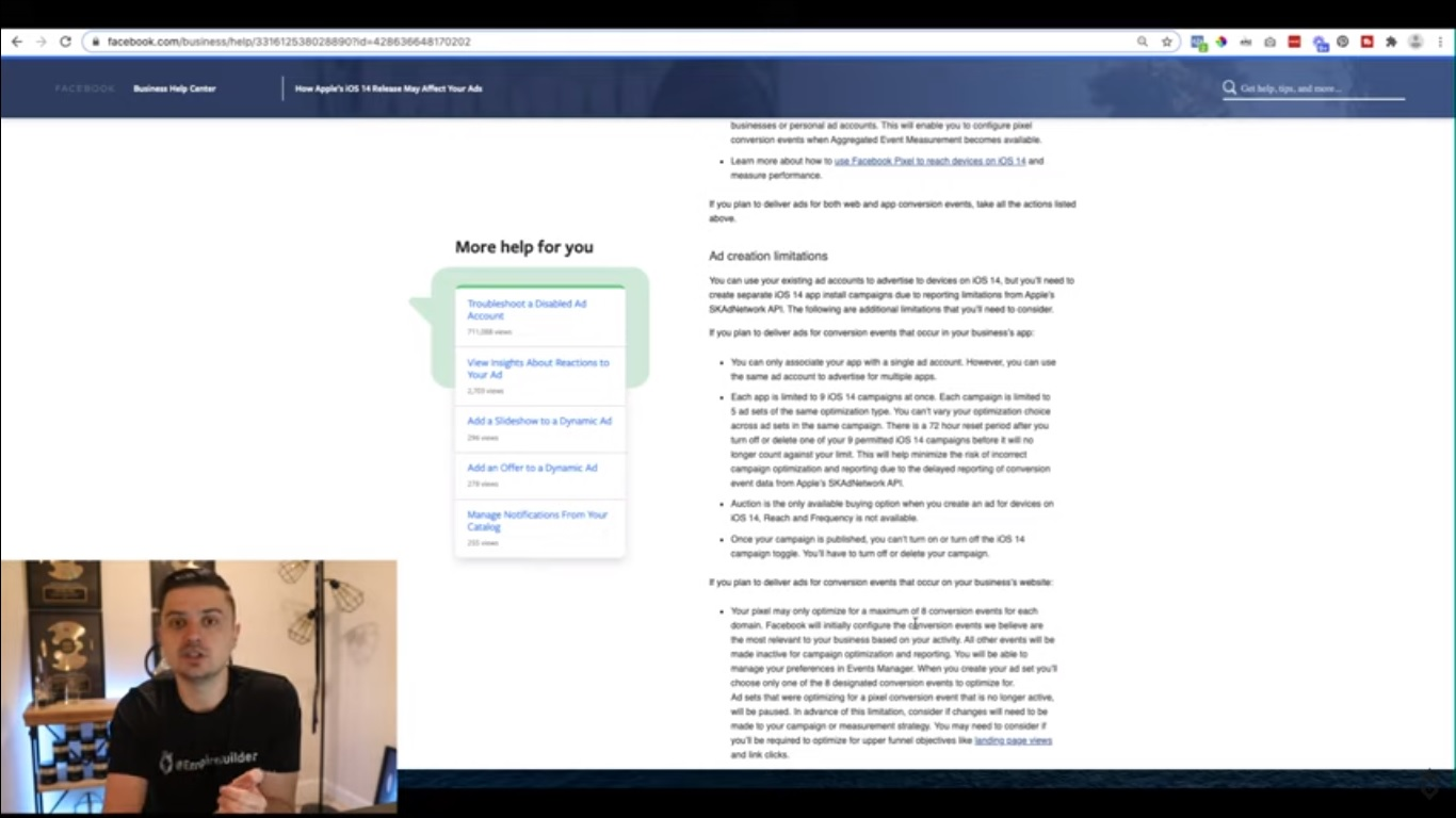 Screengrab of Peter Pru explaining Facebook's response to the iOS 14 update