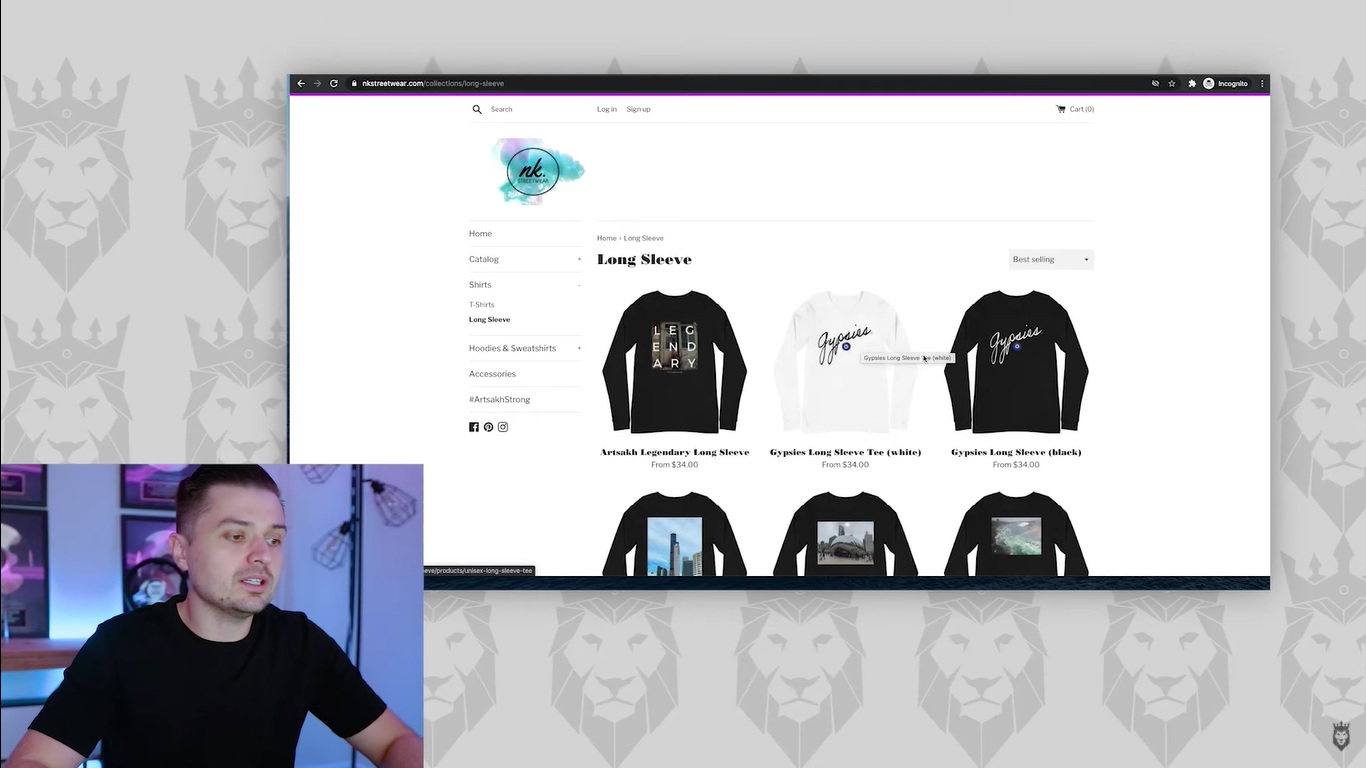 Peter Pru discussing products on NK Streetwear, a clothing dropshipping store