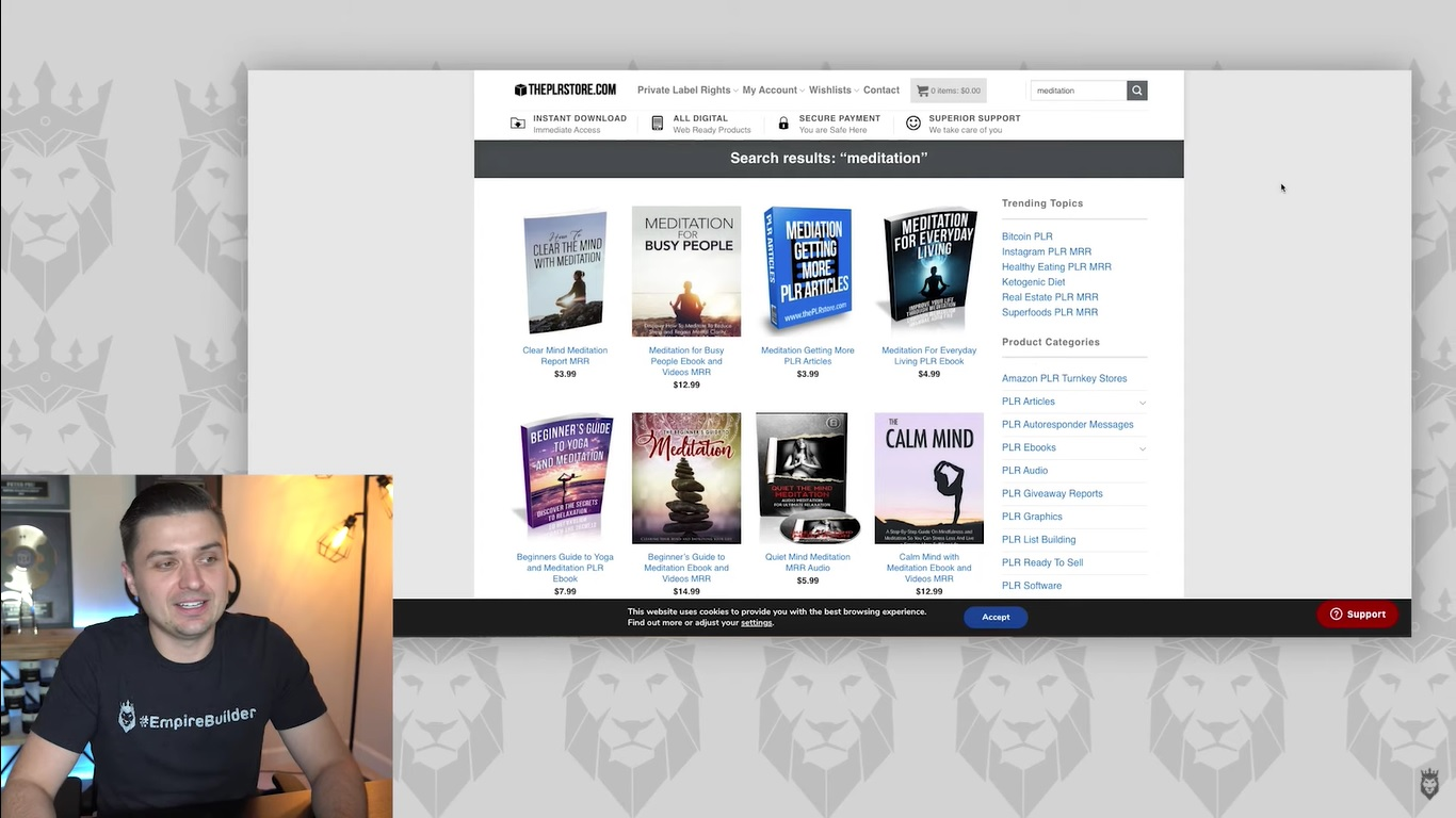 Screen grab of looking for meditation digital products on ThePLRStore