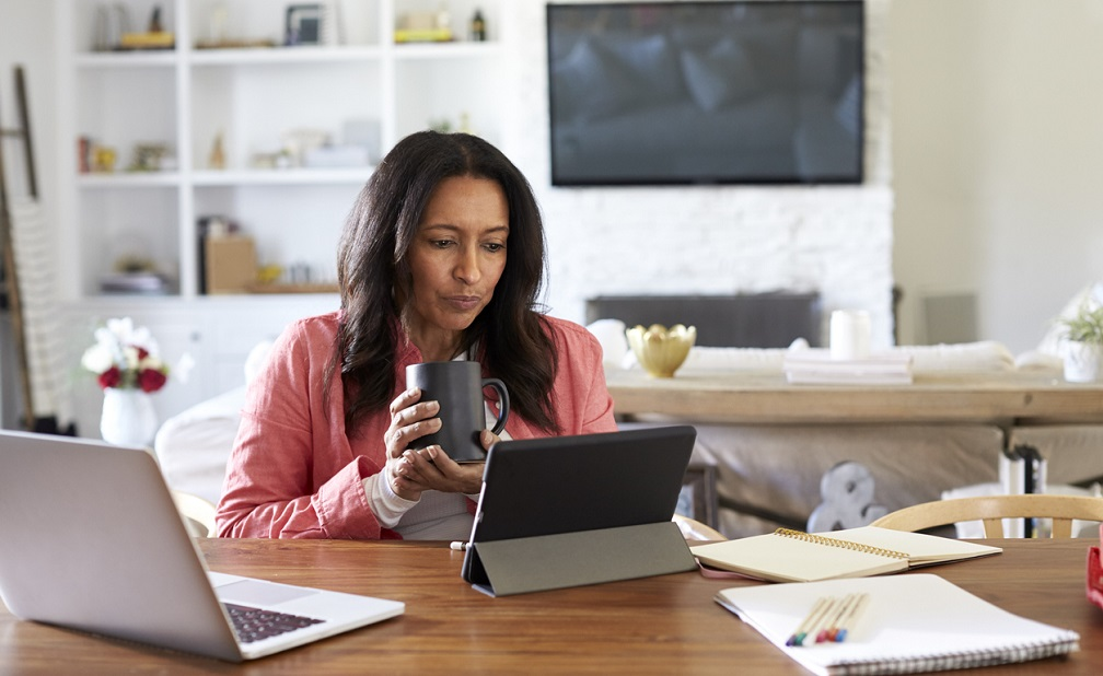 woman shopping online while staying home