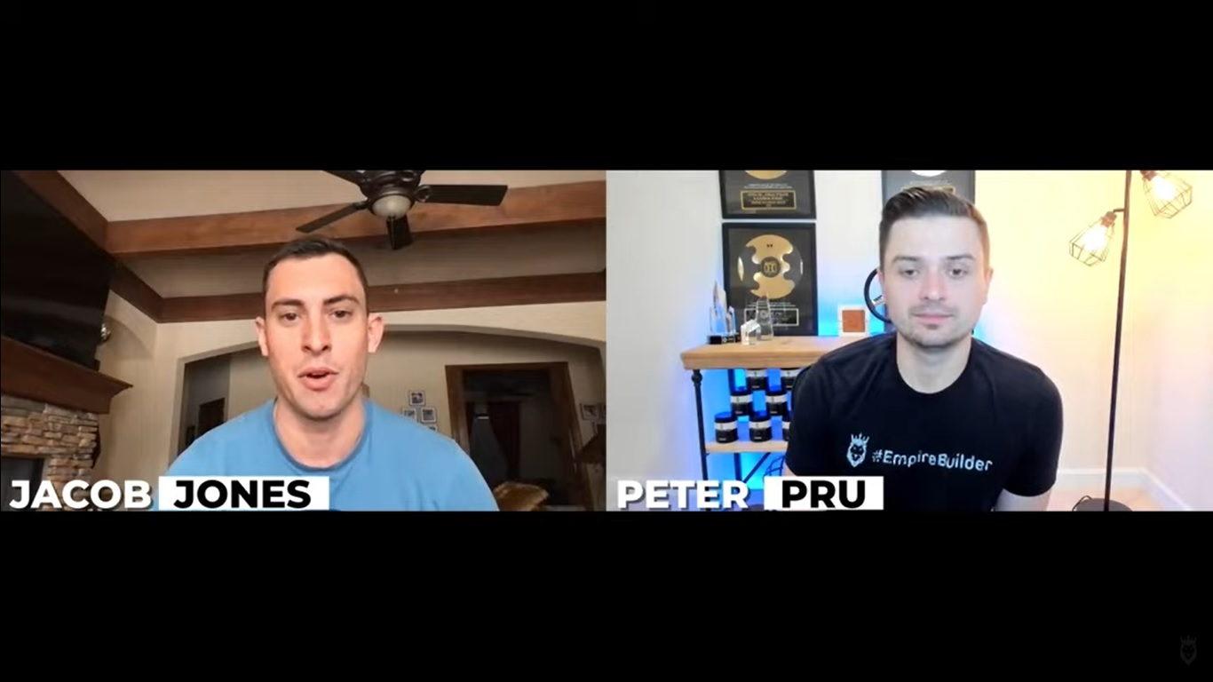 Screen grab of Jacob Jones and Peter Pru talking about how to use dropshipping funnels