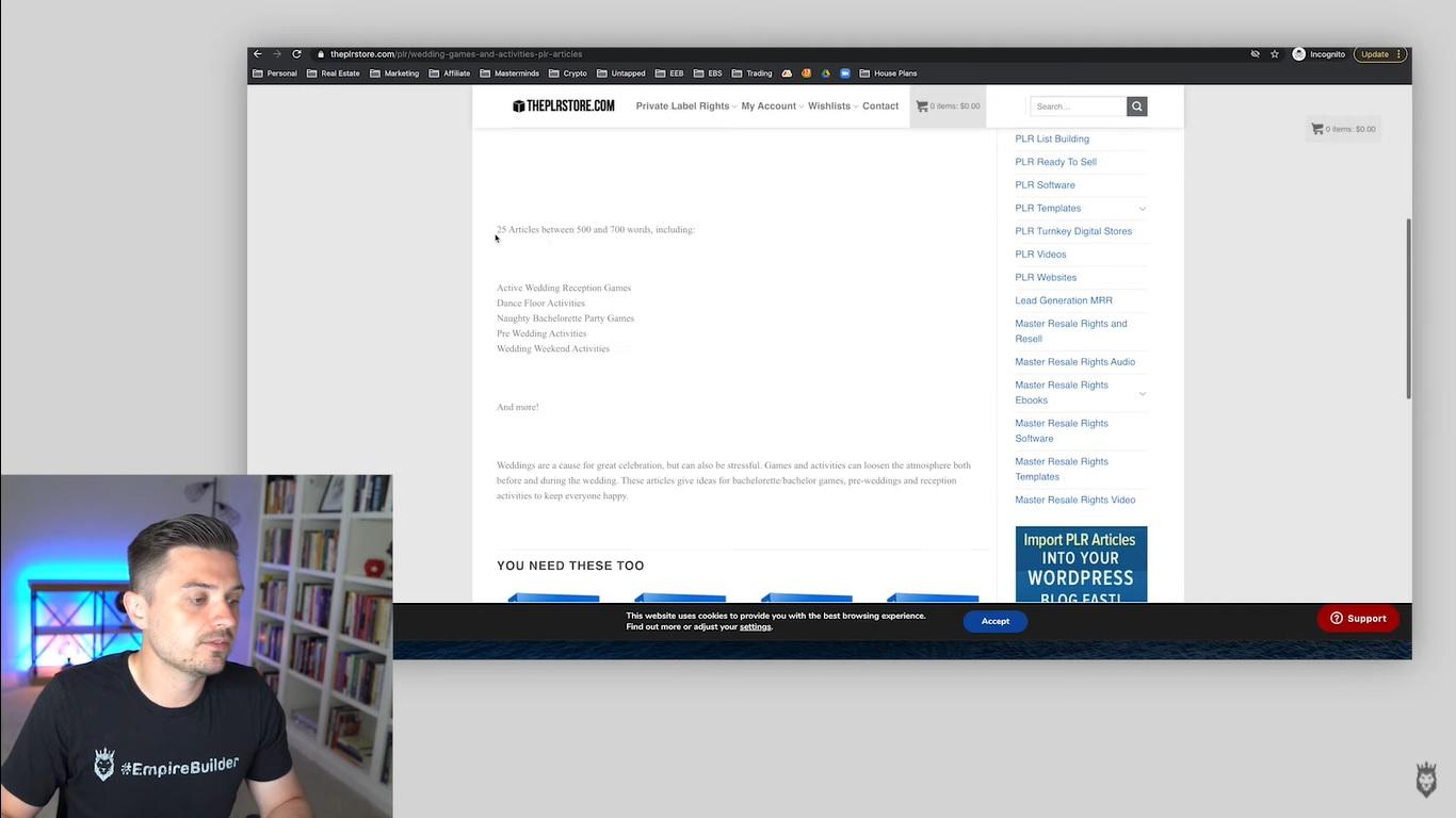 Screen grab of Peter Pru showing viewers how to navigate PLR sites