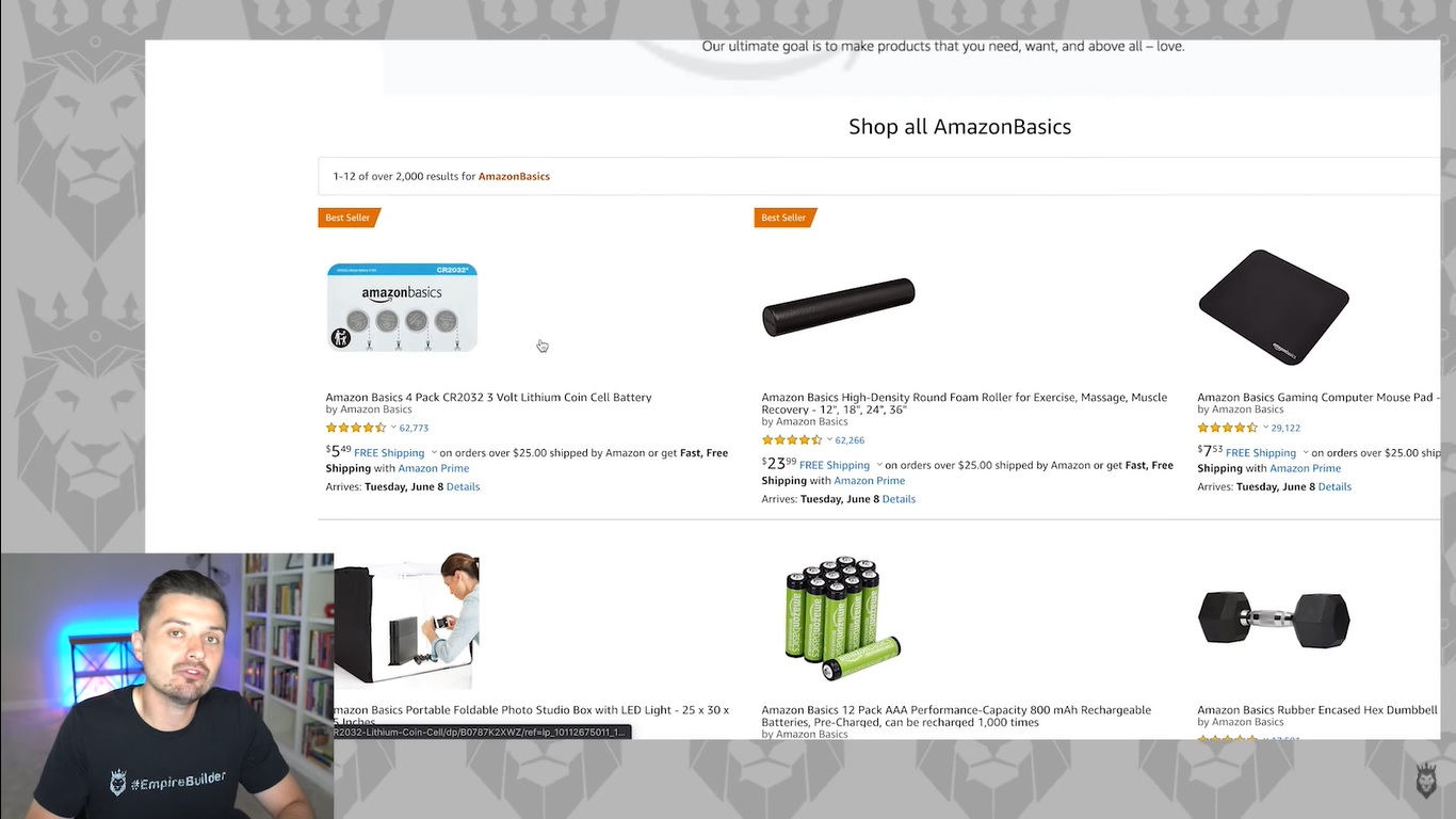Screen grab of Peter Pru discussing Amazon Basics products
