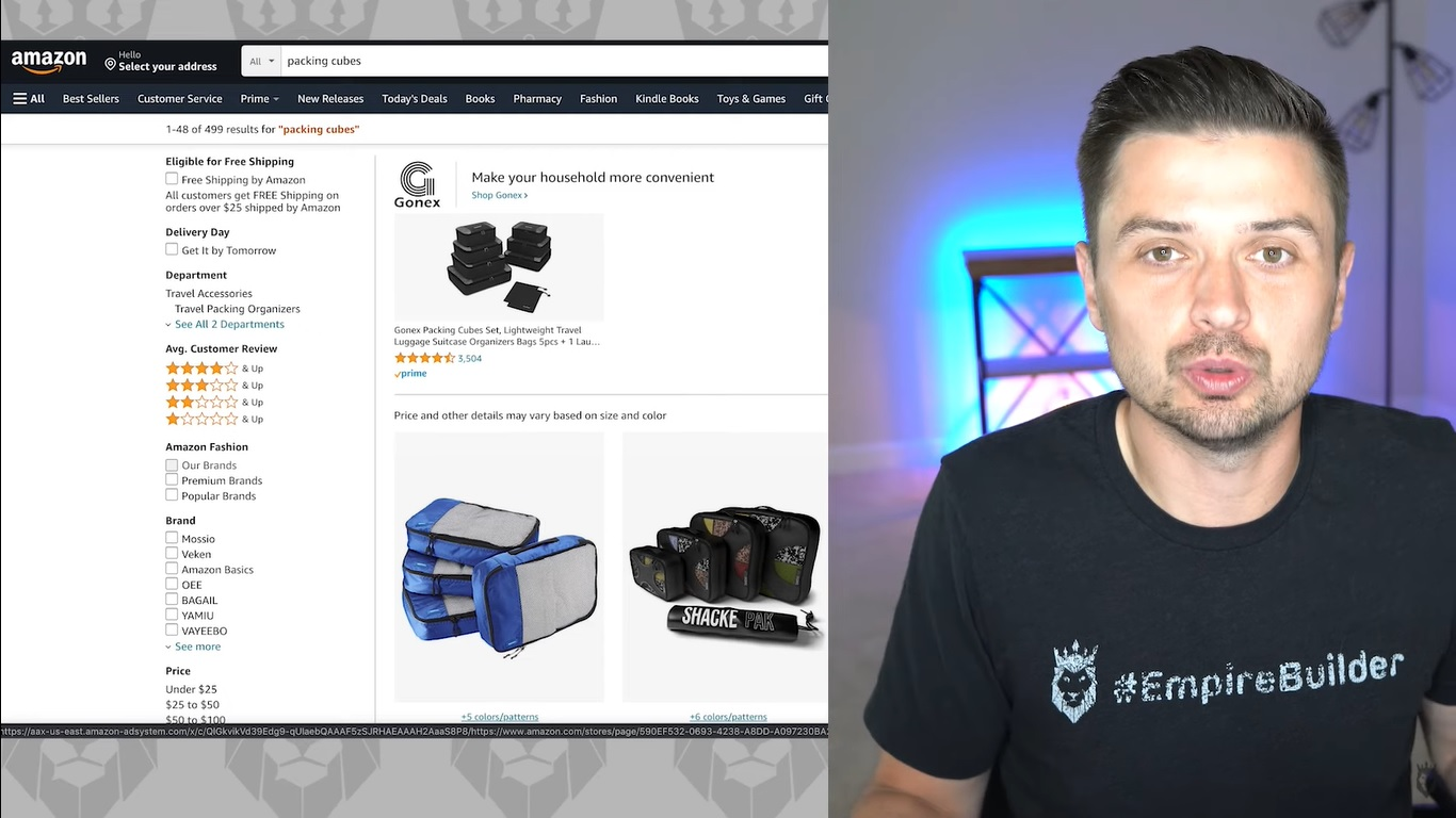 Screen grab of Peter Pru discussing Amazon's packing cube product