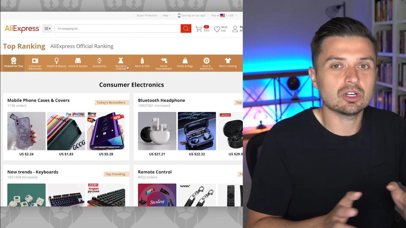 Screen grab of Peter Pru explaining Top Rankings on AliExpress