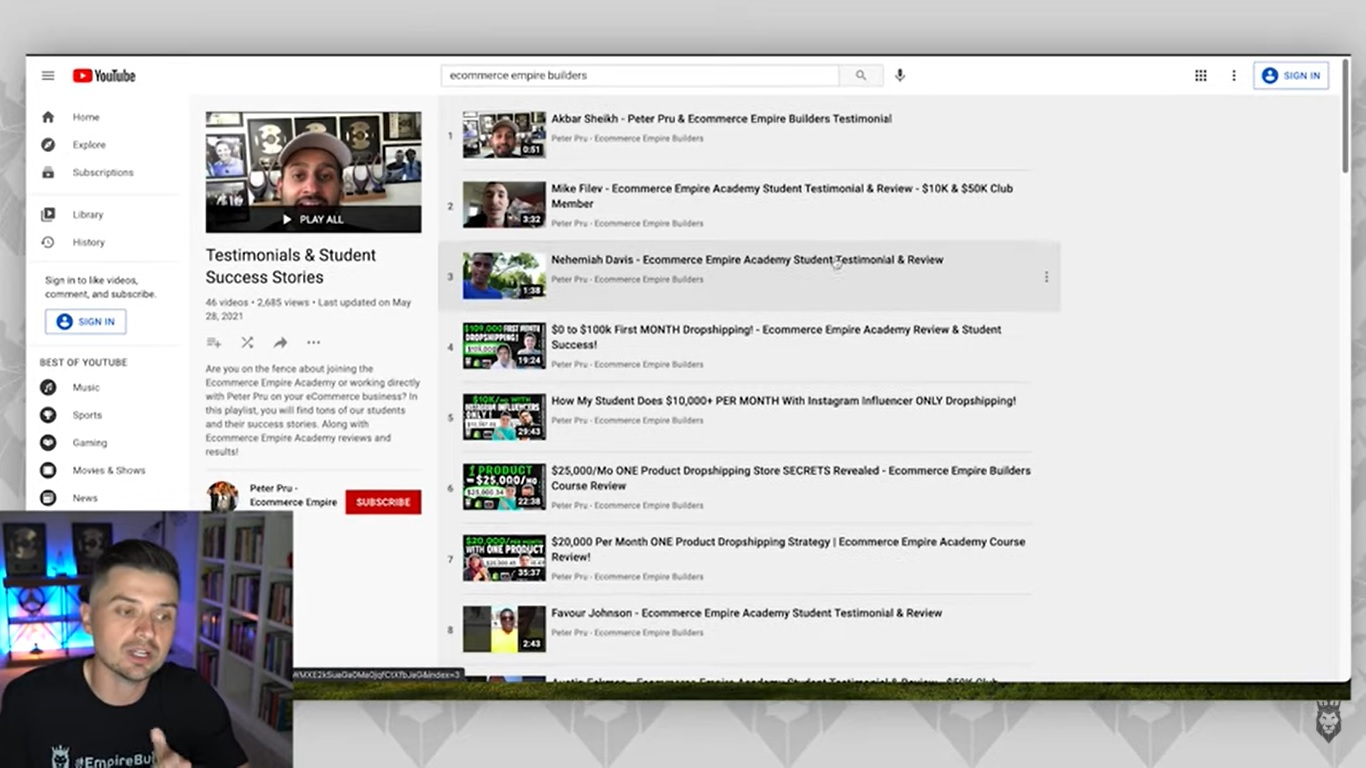 Screen grab of Peter Pru recommending viewers watch student success story videos
