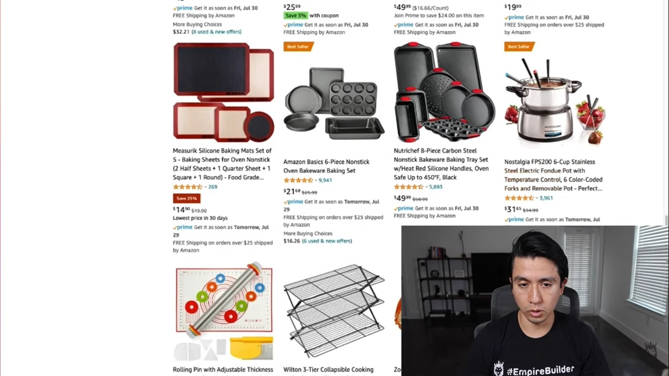 Arturo showing how to use Amazon search results to find Shopify products