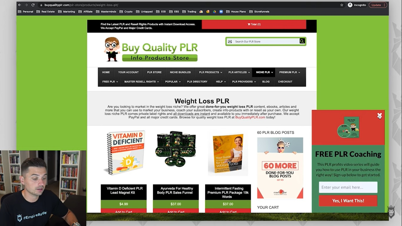 Screen grab of Peter Pru showing the different PLR media types available